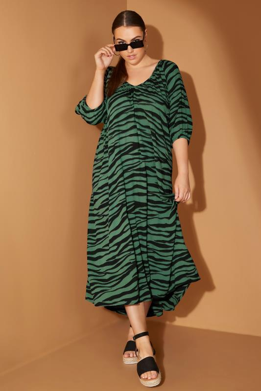 LIMITED COLLECTION Green Zebra Print Midaxi Dress_L1.jpg