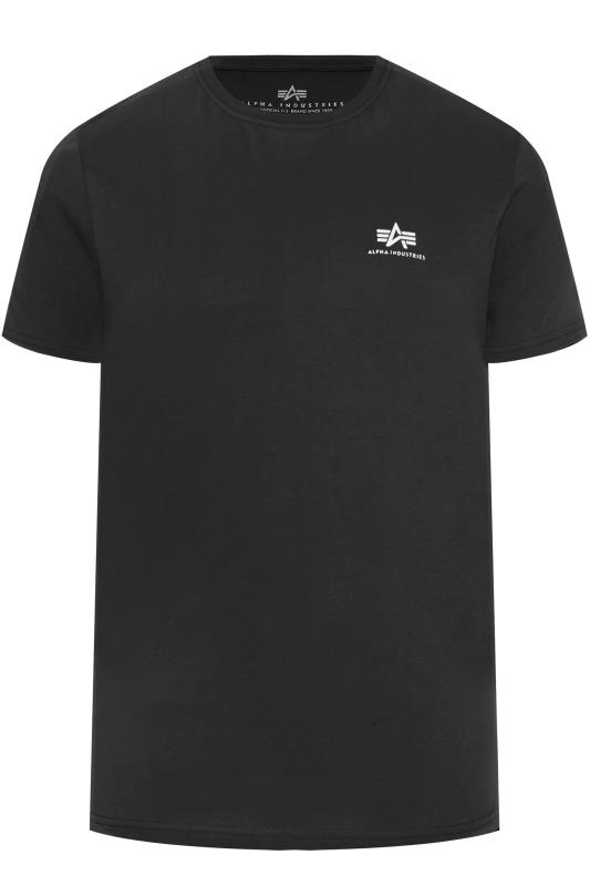 Großen Größen T-Shirts ALPHA INDUSTRIES Black Basic Logo T-Shirt