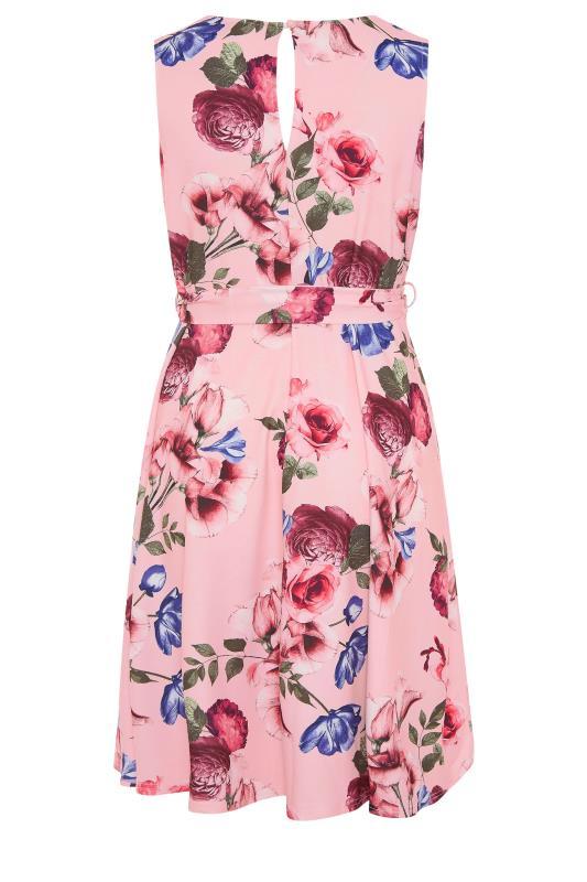 YOURS LONDON Pink Floral Skater Dress_BK.jpg