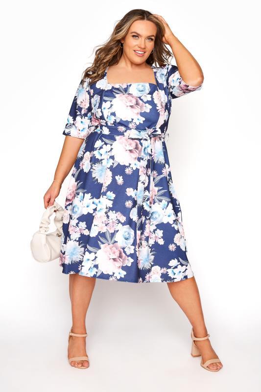 YOURS LONDON Marineblaues florales Kleid mit quadratischem Ausschnitt