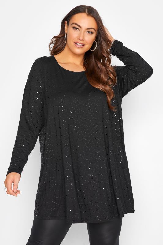Plus Size  Black Embellished Spot Print Swing Top