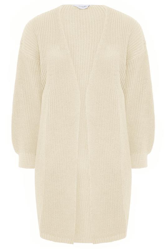Plus Size  Stone Balloon Sleeve Maxi Knitted Cardigan