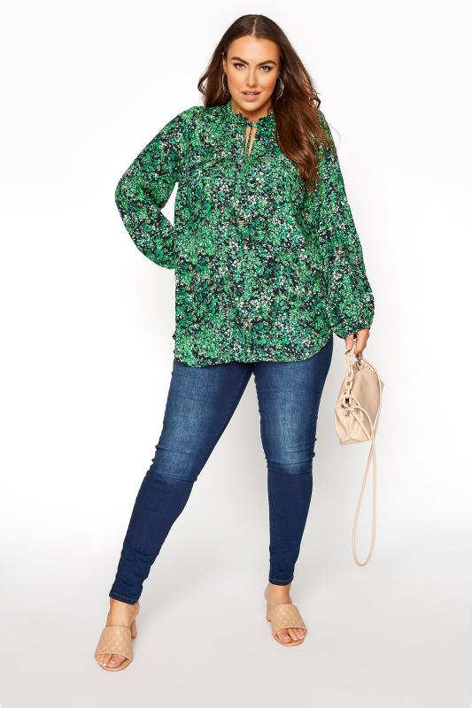 YOURS LONDON Green Floral Tie Frill Neck Blouse_B.jpg
