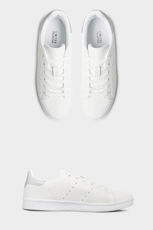 LIMITED COLLECTION White & Silver Vegan Faux Leather Trainers In Wide Fit_split.jpg