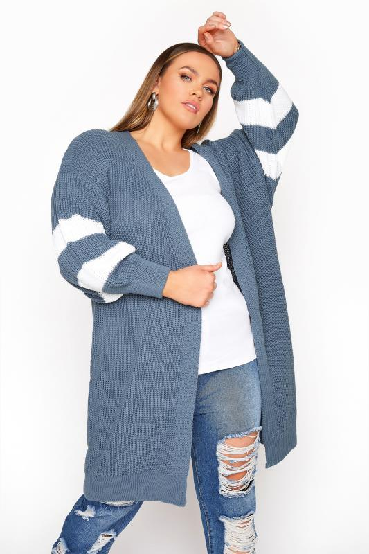 Plus Size  Dusky Blue Varsity Stripes Knitted Cardigan