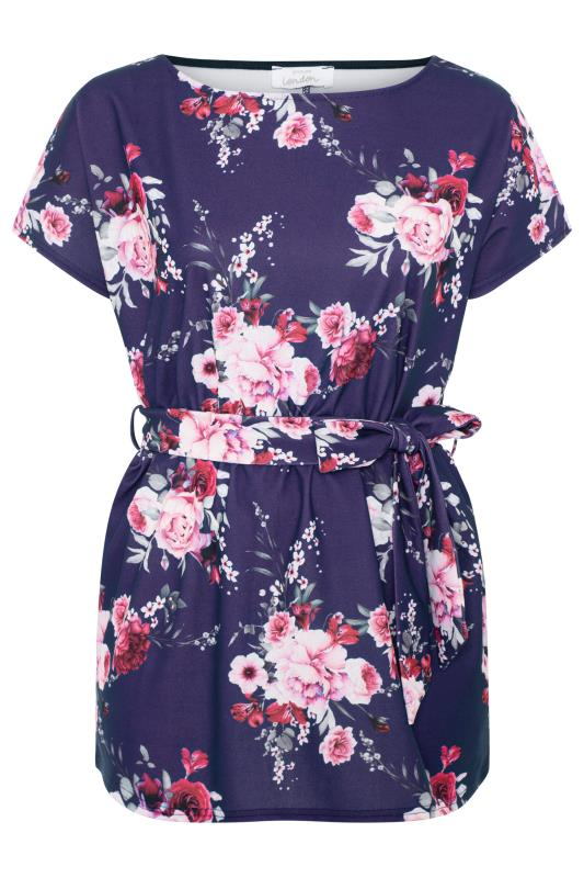 YOURS LONDON Purple Floral Belted Peplum Top