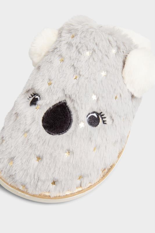 Grey Vegan Faux Fur Koala Mule Slippers In Regular Fit_D.jpg