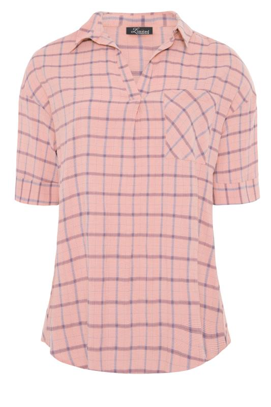 THE LIMITED EDIT Pink Check Pleated Front Top_F.jpg