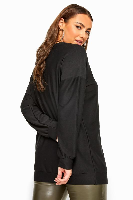 Black Stud J'adore Slogan Knitted Top