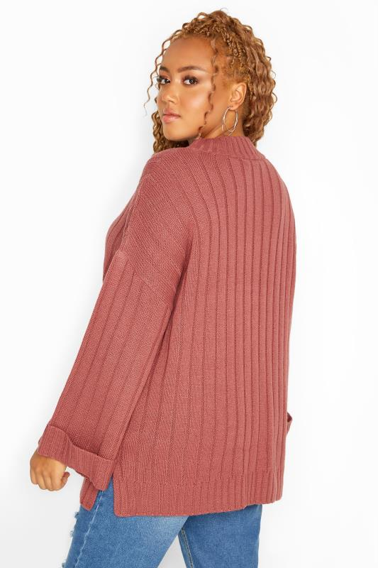 Pink Ribbed Wide Sleeve Knitted Jumper