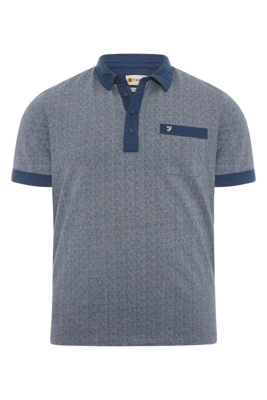 FARAH Blue Contrast Polo Shirt
