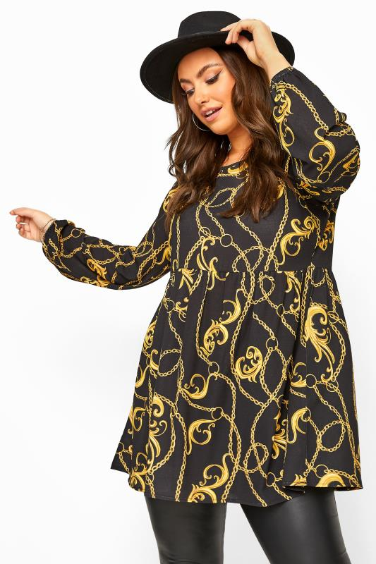 Black Chain Print Balloon Sleeve Smock Tunic