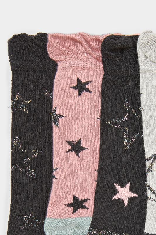 4 PACK Pink & Black Star Socks