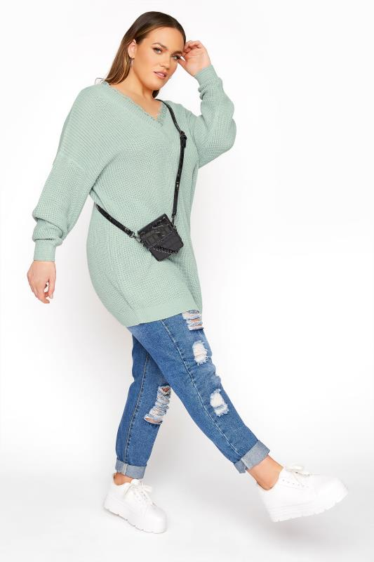 Mint Green Lace Oversized Knitted Jumper