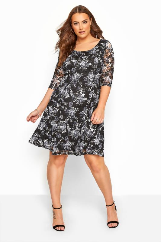 Plus Size Floral Dresses YOURS LONDON Black & Grey Floral Print Lace Skater Dress