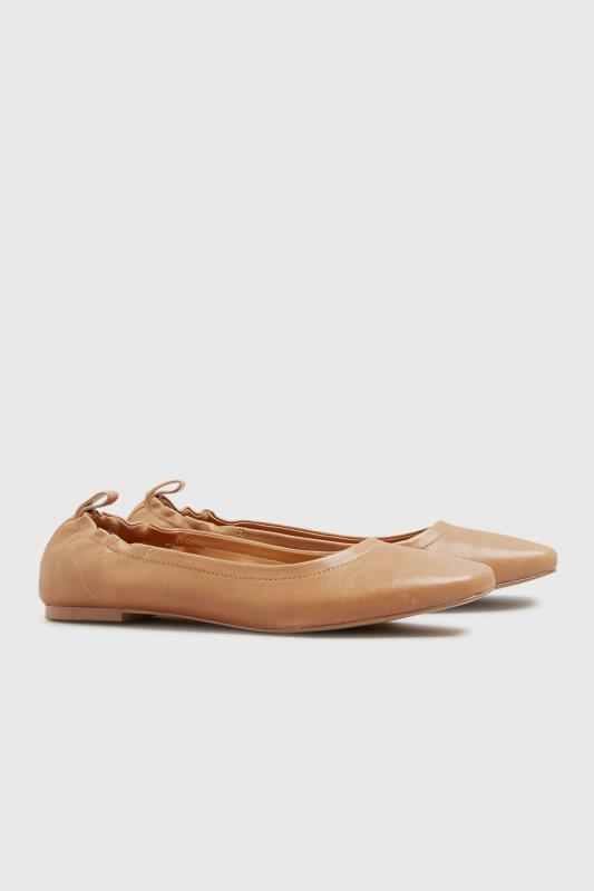 Tall  LTS Camel Square Toe Leather Ballet Shoes