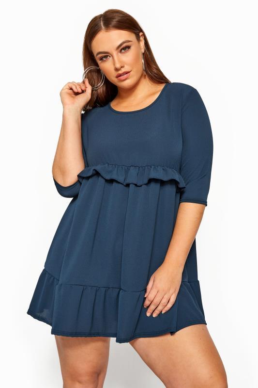 Plus Size Chiffon Dresses LIMITED COLLECTION Denim Blue Double Layer Smock Dress