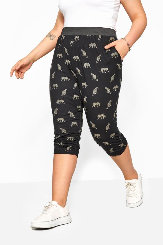 Black Leopard Cropped Harem Trousers