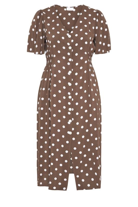 YOURS LONDON Brown Polka Dot Button Through Midi Dress_F.jpg