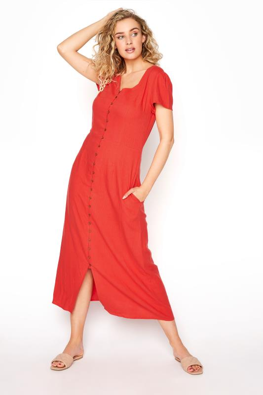 Tall  LTS Red Linen Button Front Midi Dress