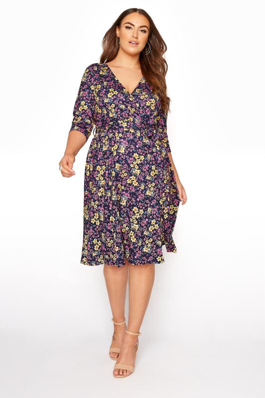 Grande Taille YOURS LONDON Navy Floral Wrap Midi Dress