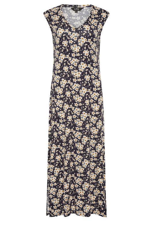 LTS Black Floral Print V-Neck Midi Dress_F.jpg