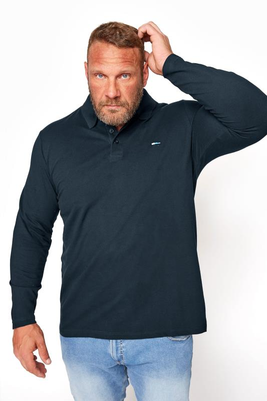 Men's  BadRhino Navy Essential Long Sleeve Polo Shirt