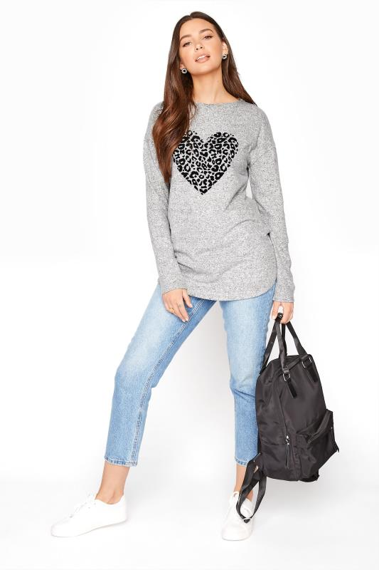 LTS Grey Leopard Heart Knitted Top