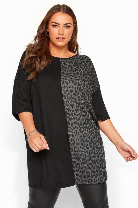 Black & Grey Leopard Colour Block Oversized Top