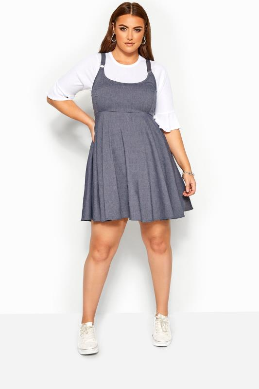 Pinafore Dresses Grande Taille LIMITED COLLECTION Blue Denim Look Pinafore Dress