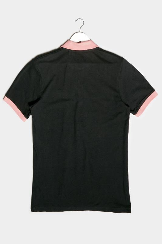 BadRhino Black & Pink Contrast Polo Shirt