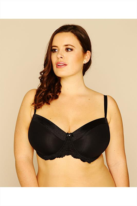 Plus Size Underwired Bras Black Underwired Satin Bra With Lace Trim