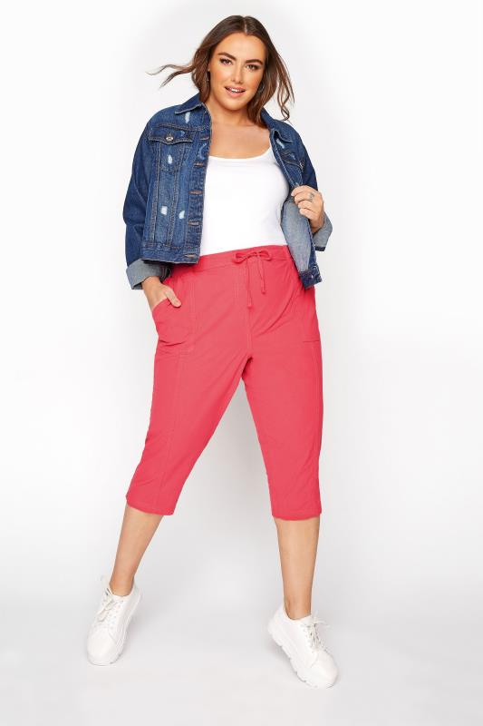 Plus Size Casual / Every Day Pink Cool Cotton Cropped Trousers