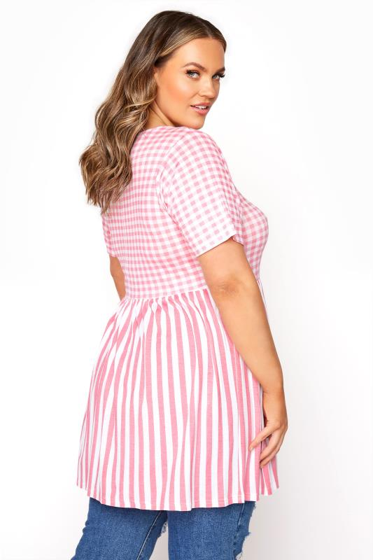 LIMITED COLLECTION Blush Pink Gingham Stripe Mix Top_C.jpg
