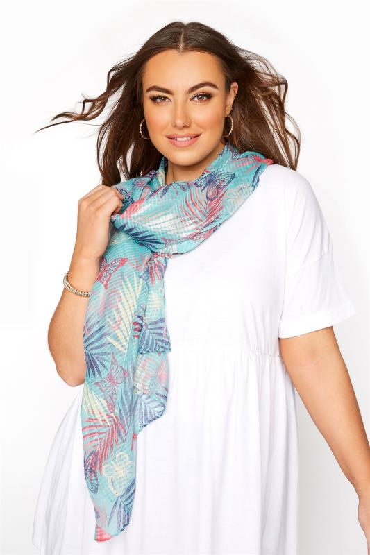 Tallas Grandes Blue Butterfly Palm Scarf