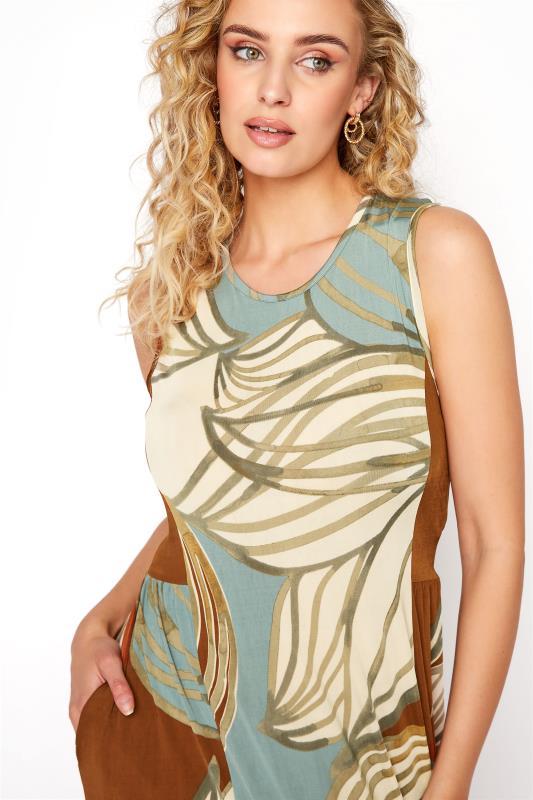 LTS Multicoloured Leaf Print Panelled Sleeveless Maxi Dress_D.jpg