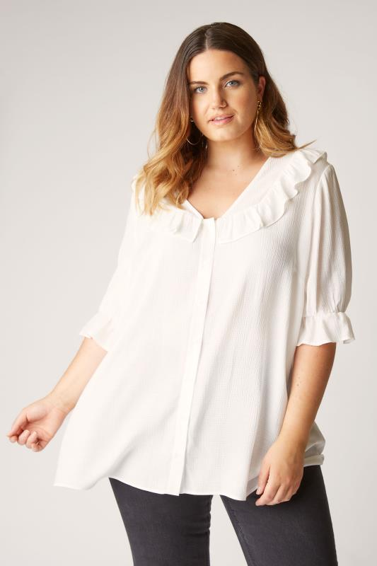 THE LIMITED EDIT White Button Frill Blouse_A.jpg