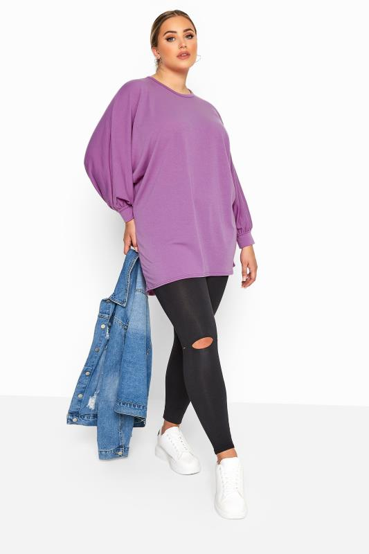 LIMITED COLLECTION Purple Oversized Batwing Sleeve Sweatshirt