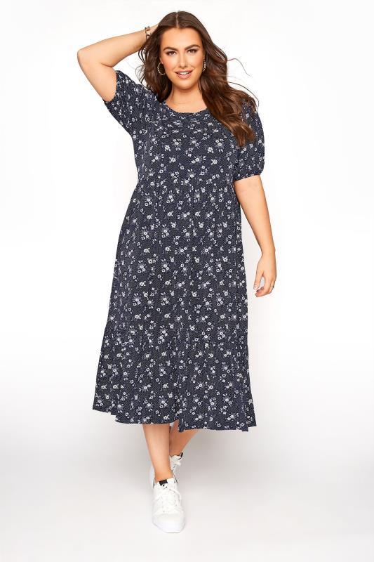 Plus Size  Navy Polka Dot Floral Frill Hem Short Sleeve Dress