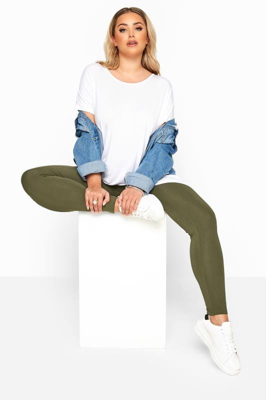 Plus Size Basic Leggings Khaki Basic Leggings