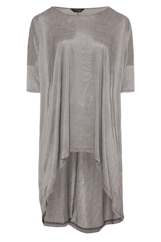 Plus Size  Silver Metallic Longline Dipped Hem T-Shirt
