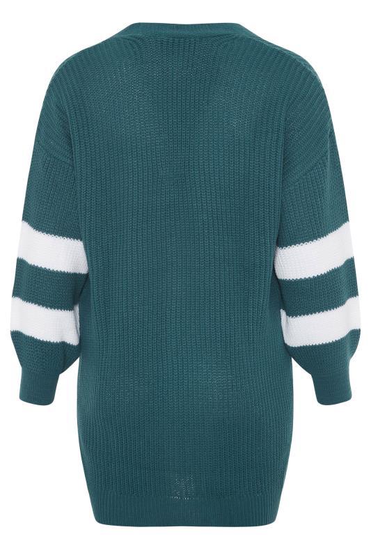 Teal Green Varsity Stripes Knitted Cardigan_BK.jpg