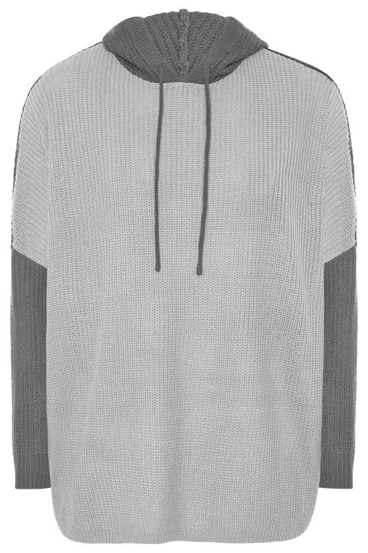 Grey Colour Block Oversized Knitted Hoodie_F.jpg
