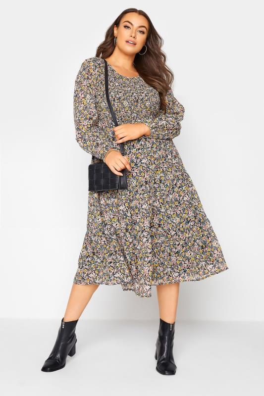 Navy Floral Shirred Midi Dress_B.jpg