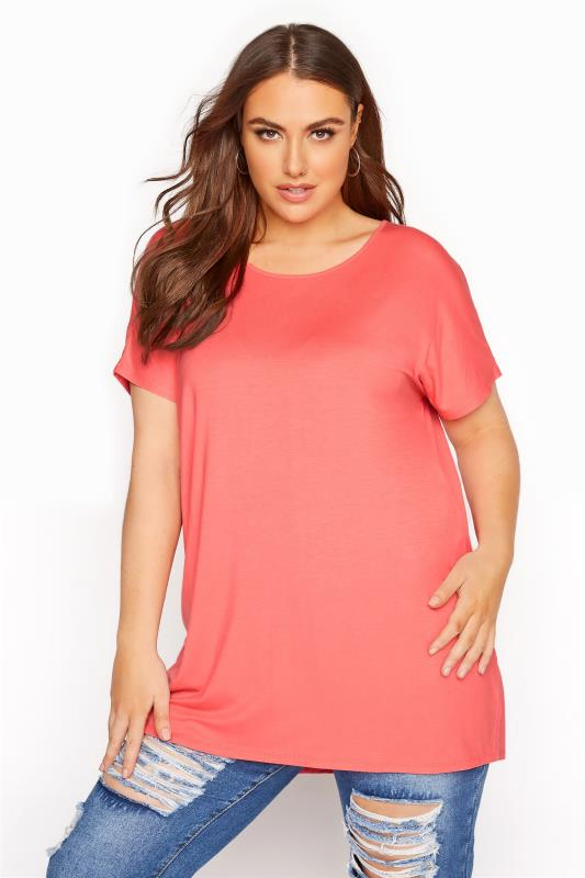 Plus Size  Coral Grown on Sleeve T-Shirt