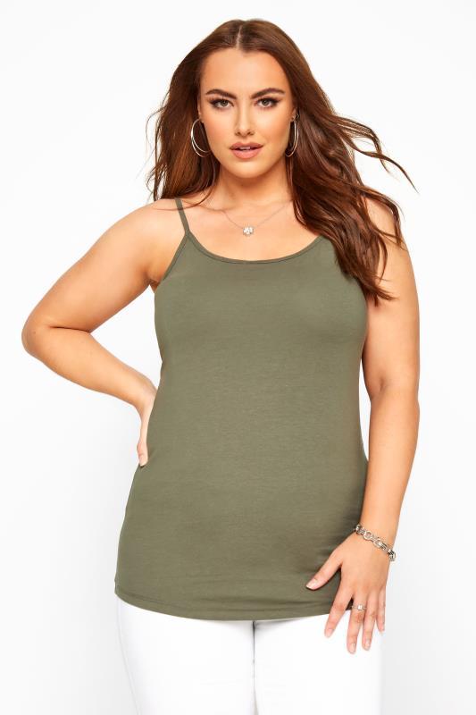 Plus Size Jersey Tops Khaki Cami Vest Top