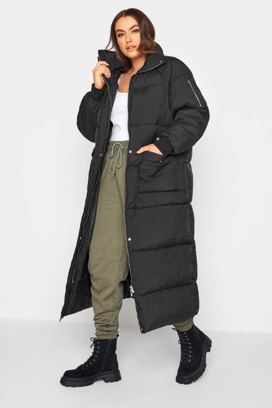 Plus Size  Black Maxi Puffer Coat
