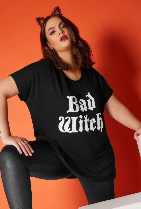 Plus Size T-Shirts Black 'Bad Witch' Slogan Top