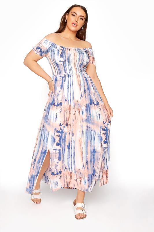 Pink Tie Dye Shirred Bardot Maxi Dress_B.jpg