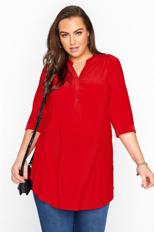 Plus Size  Red Slinky Jersey Shirt